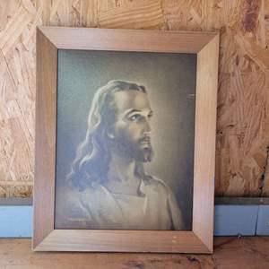 Lot # 12 Vintage 1941 Framed Lithograph of Christ