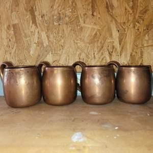 Lot # 29 Set of 4 West Bend Solid Copper Mule Mugs