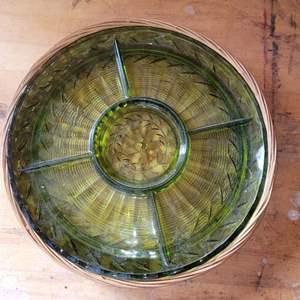 Lot # 35 Vintage Green Depression Glass Sectional Serving Platter w/ Basket Holder