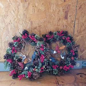 """Lot # 39 Pair of Pretty """"Birds in the Berries"""" Wreaths"""