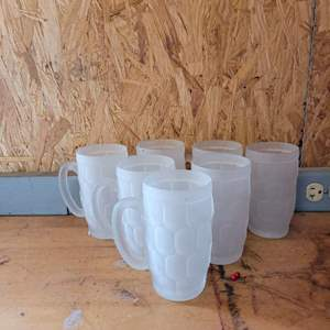 Lot # 40 Nice Set of 7 Frosted Mugs