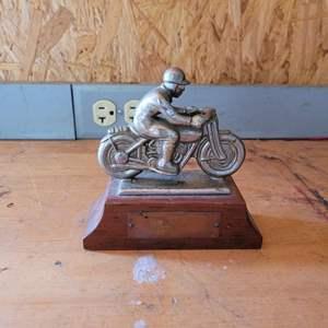 Lot # 45 Vintage Block Motorcyle Rider Figurine