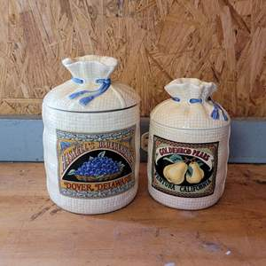 Lot # 49 Hearth and Home Ceramic Burlap Bag Canisters (2)
