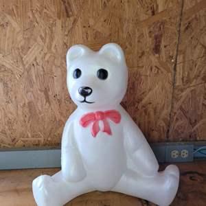 "Lot # 62 Vintage Union Products Sitting Teddy Bear Blow Mold Christmas Yard Light 18"""