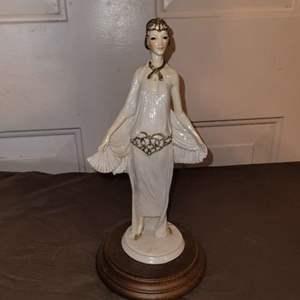 Lot # 102 1984 ADL Capodimonte Vittorio Tessaro of Italy Elegant Lady With a Fan Figurine