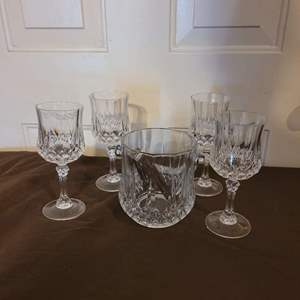 Lot # 103 Crystal Ice Bucket & Tongs w/ Matching Crystal Wine Glasses (4)