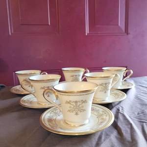 Lot # 116 Gorgeous Set of 6 Lenox CASTLE GARDEN Teacups and Saucers - Nice Condition