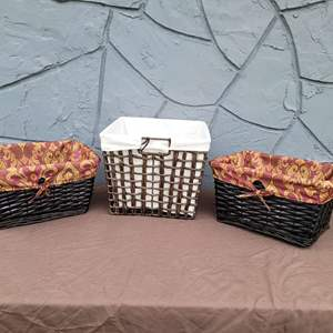 Lot # 119 Pretty Trio of Lined Baskets