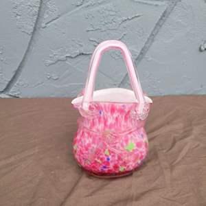 Lot # 123 Pretty Blown Glass Purse Shaped Candy Bowl