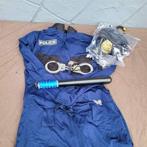 Lot # 129 Halloween Police Costume w/ Accessories - Size M/L