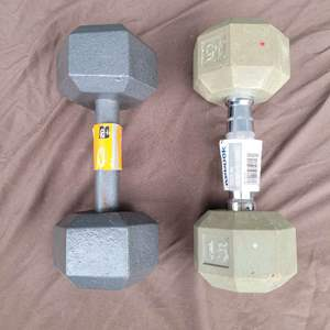 Lot # 138 Pair of Hand Weights (15 lb. & 20 lb.)