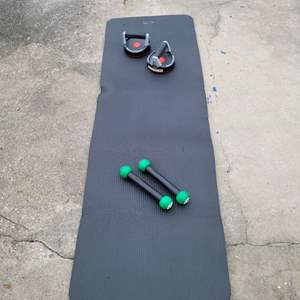 Lot # 140 Exercise Mat w/ Push Up Pads & Hand Weights