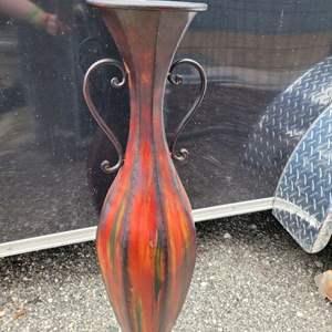 """Lot # 145 Tall Metal Floor Vase 34"""""""