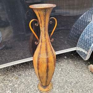 """Lot # 146 Tall Metal Floor Vase 34"""""""