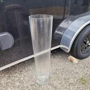 "Lot # 148 Large Clear Glass Floor Vase 36"""