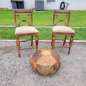 Lot # 171 Wood Bar Stools w/ Leather Wrapped Ottoman