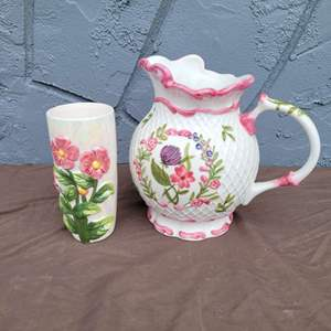 Lot # 177 Charter Club WILD FLOWERS Pitcher and More