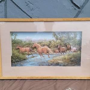 Lot # 186 Beautiful Framed Print of Running Horses