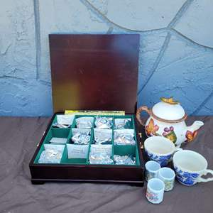 Lot # 193 Assorted Teas in Tea Chest, Teapot and Cups