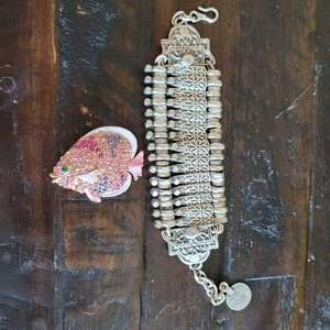 Lot # 212 Metal Bracelet & Fish Pin