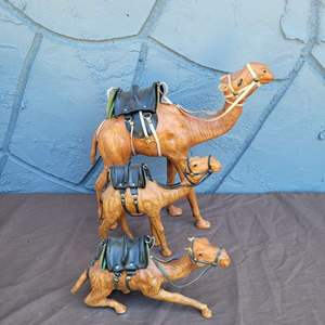 Lot # 221 Leather Wrapped Camel Trio - Nice!