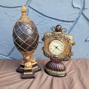 Lot # 236 Beautiful Clock & Egg Decor