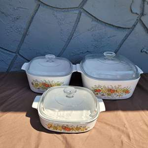 Lot # 245 Corning Ware Spice of Life Casserole Dishes w/ Lids