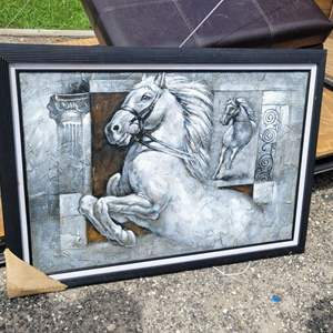 Lot # 271 M. Harold Abstract Equine Painting- Framed & Matted- NEW