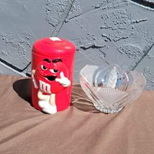Lot # 278 Crystal Candy Dish & M&M Candy Jar