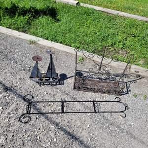 Lot # 284 Metal Boat, Plate Holder & Plant Holder