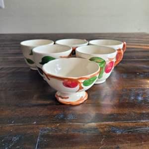 Lot # 292 Pretty Hand Painted Tea Cups w/ Lemon Bowl