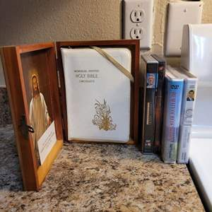 Lot # 333 Assortment of Religious DVDs and Memorial Bible in Wood Case