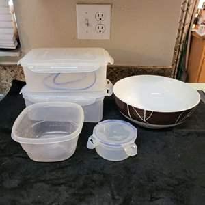 Lot # 348 Pretty Oneida Serving Bowl and Plastic Storage Bins