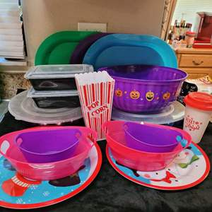 Lot # 354 Plastic Holiday Serveware and Platters