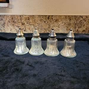 Lot # 360 Nice Set of Vintage Salt & Pepper Shakers w/ Silverplated Tops
