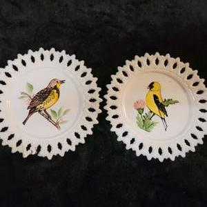 Lot # 364 Pretty Pair of Hand Painted Reticulated Plates