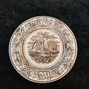 "Lot # 366 Antique Ashworth Masons ""American Marine"" Brown Transferware Plate 8"""