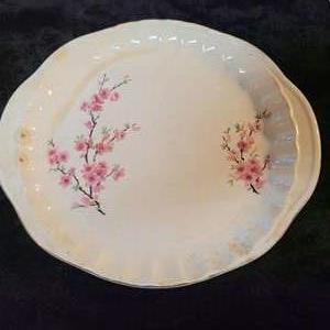"Lot # 370 W.S George Peach Blossom (Bolero) Handled Cake Plate 12"""