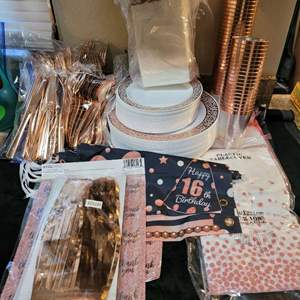 Lot # 381 Party Time!!  Great Collection of Sweet 16 Party Supplies