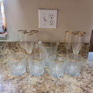 Lot # 385 Nice Assortment of Barware w/ Ice Bucket