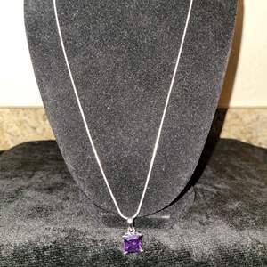 Lot # 392 Sterling Silver Chain w/ Purple Stone