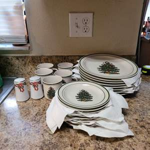 Lot # 425 Christmas Stoneware China Set