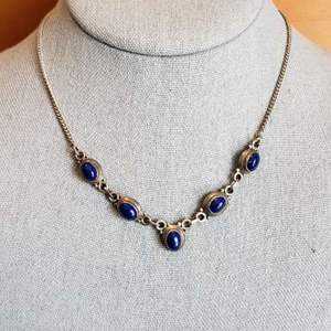 Lot # 432 Sterling Silver Drop Necklace w/ Blue Stones
