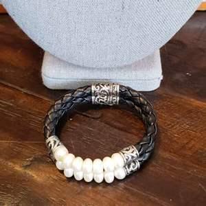Lot # 442 Sterling Silver Leather & Pearl Bracelet