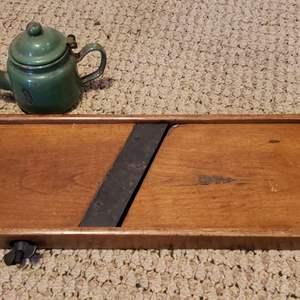 Lot # 454 Vinatge Wood Cutter & Green Small Metal Tea Pot