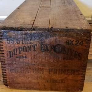 Lot # 457 Vintage Wooden DuPont Explosives Crate / Box