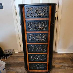 Lot # 469 Stunning Jewelry Cabinet w/ Wood Framing and Beautiful Metal Scroll Detail