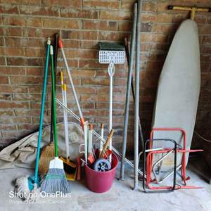 58 miscellaneous lot in garage mops buckets and more