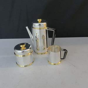 Lot #31 Vintage Chrome/Gold Tea Set with 4-Cup Teapot, Covered Sugar Bowl and Creamer