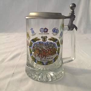 Lot #39 Gruß vom Oktoberfest Lidded Glass Beer Stein with Brewery Emblems